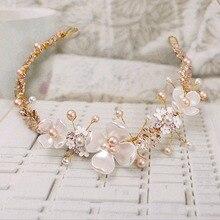 JAVRICK Crystal Bridal Headband Wedding Rhinestone Headbands Hair Accessories tiaras Bride Ribbon