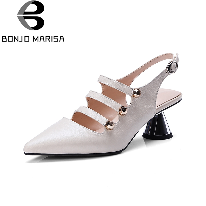 BONJOMARISA 2018 Top Quality Big Size 34-43 Pointed Toe Genuine Leather Summer Pumps Shoes Women Sexy Party Woman Shoes bonjomarisa 2018 summer sweet genuine leather platform women sandal sexy high heels flower big size 33 40 appliques women shoes