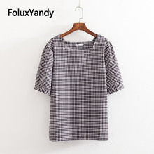 купить Square Collar T-shirt Women Tops Plus Size XXXL Casual Plaid Short Sleeve Summer Tops Tees KKFY3480 по цене 927.47 рублей
