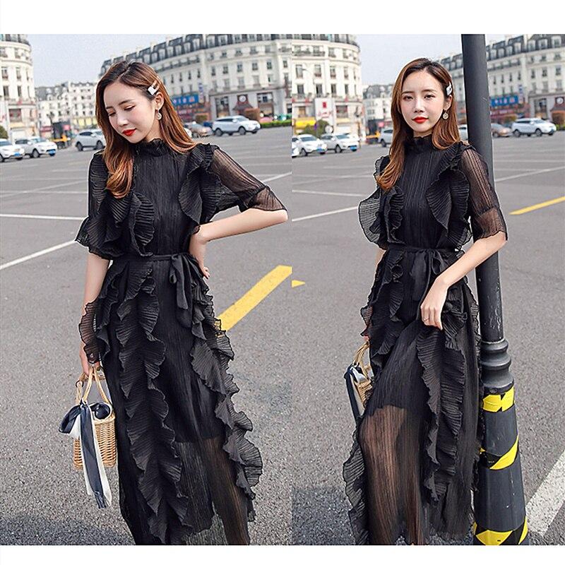 Mousseline de soie été femmes robe 2019 nouvelle mode doux col rond longue mince robe femme Simple couleur unie grande taille femmes