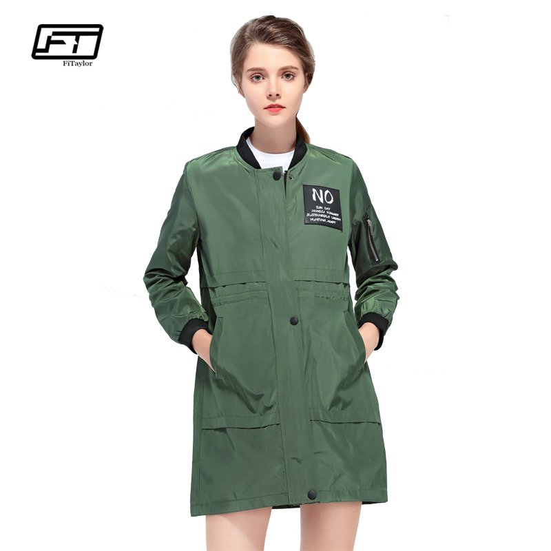Fitaylor Spring Autumn Women Windbreaker Coat Casual Baseball Jacket O Neck Long Sleeve Coats Letter Print Black Green Outerwear