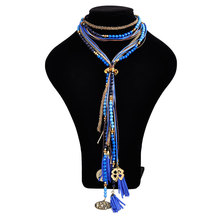 The new trend of the metal measle fashion necklace jewelry super-long BLBL sweater chain tassel