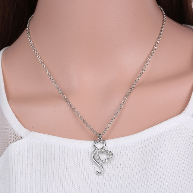 Cat Themed Silver Necklace for Women