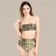 Bandeau Hot stamping Print Tube Bikini Leaves Swimwear Women Swimsuit Sexy High Waist Bathing Suit Biquni