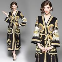 2018 Autumn Runway maxi women ladies dress retro print with sashes cardigan straight dresses Vestidos Robe Femme