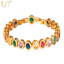 U7 cz crystal brazalete de tenis plateó cubic zirconia lujo charm pulseras y brazaletes para mujeres regalos h644