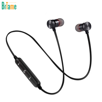 Briame Metal Sports Wireless Headphone Bluetooth Earphone Sweat Proof Earphone Magnetic Earpiece Stereo Headset for Mobile Phone