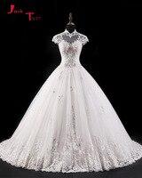 Jark Tozr Custom Made High Neck Cap Sleeve Beaded Crystal Appliques Princess Ball Gown Wedding Dress