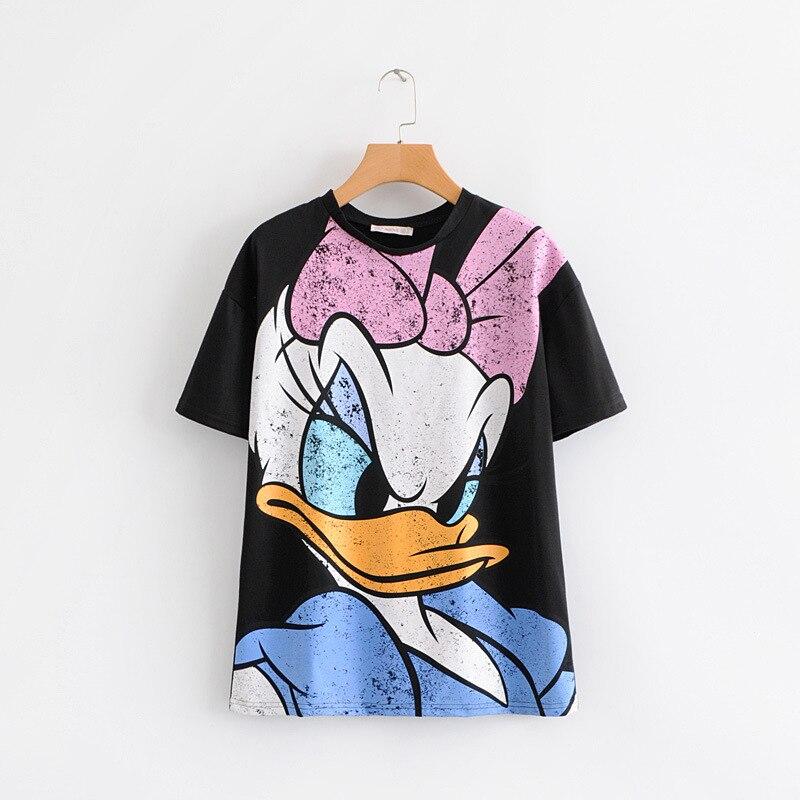 2019 Women T Shirt Fashion Donald Duck Cartoon Print Tee Summer O Neck Short Sleeve Black Shirt Casual Female Tops C590