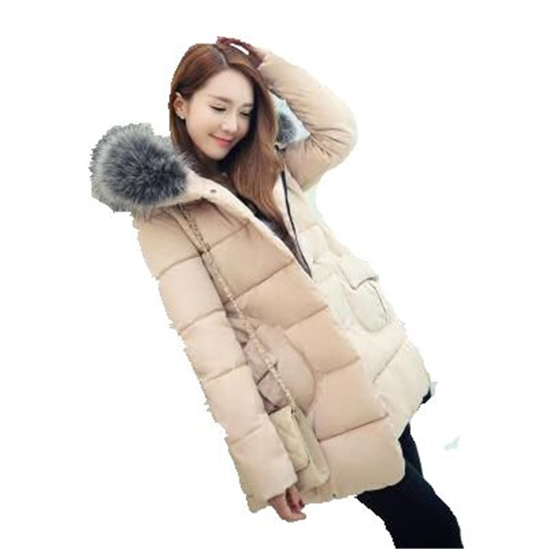 2016 New Winter Maternity Big Yards Women Cotton Jacket Thicken Fur Collar Hooded Down Padded Coat