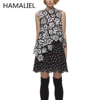 High End 2018 Spring Summer Women Dress Runway Self Portrait Vintage Lace Patchwork Lilac Sleeveless Ladies Stand Collar Dress