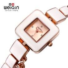 WEIQIN Rhinestone Dial Square Reloj de Oro Nuevo Diseñador de Moda de Mujer de Marca de Lujo Relojes de Cuarzo Movt Señoras Vestido reloj de Pulsera