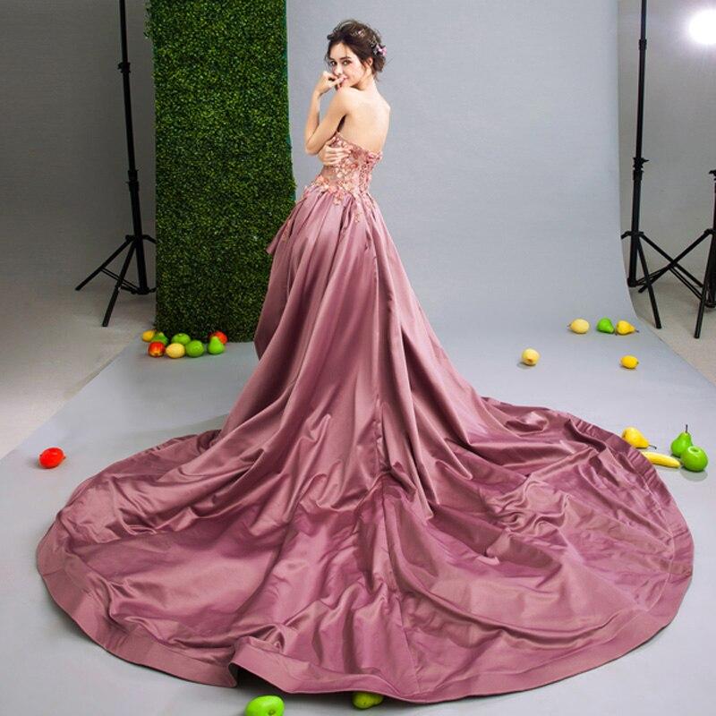 Baratos Vestido de 2017 de Encaje de Color Rosa de Largo Corto ...
