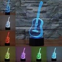 3D Ukulele Guitar Model Night Light 7 Color Change LED Table Lamp Music Decor