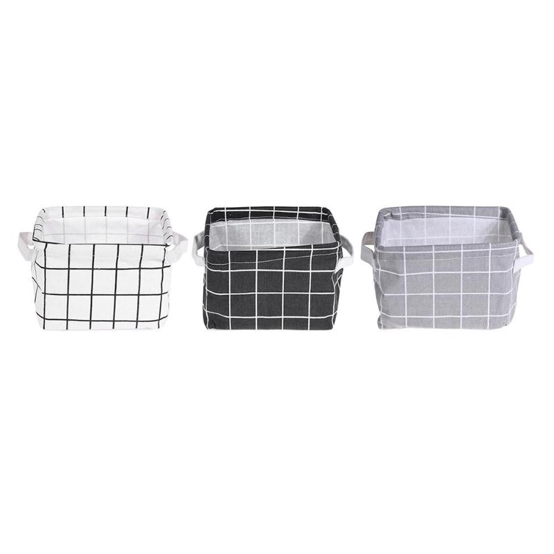 Plaid Cotton Linen Desktop Cosmetics Storage Basket High Quality Sundries Box Holder Container Makeup Organizer Case