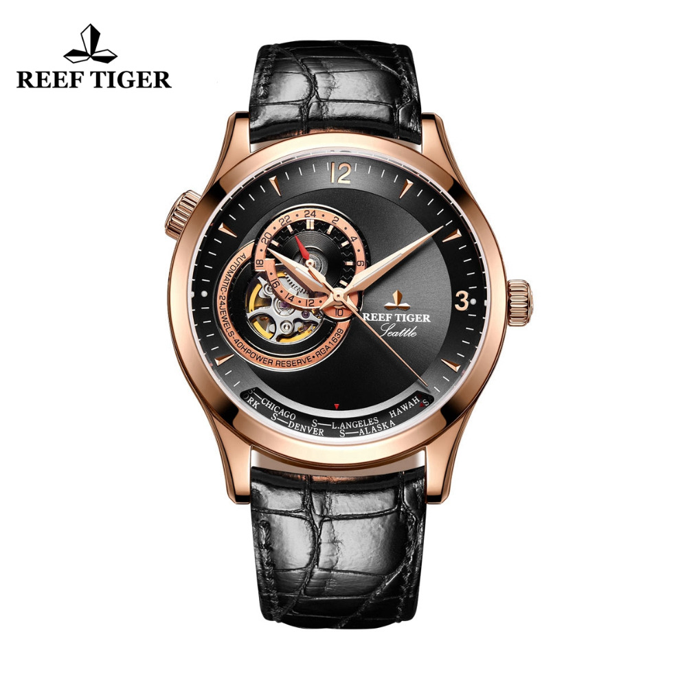 2019 New Reef Tiger/RT Casual Automatic Watches for Men Leather Strap Rose Gold Black Dial Watches RGA16932019 New Reef Tiger/RT Casual Automatic Watches for Men Leather Strap Rose Gold Black Dial Watches RGA1693