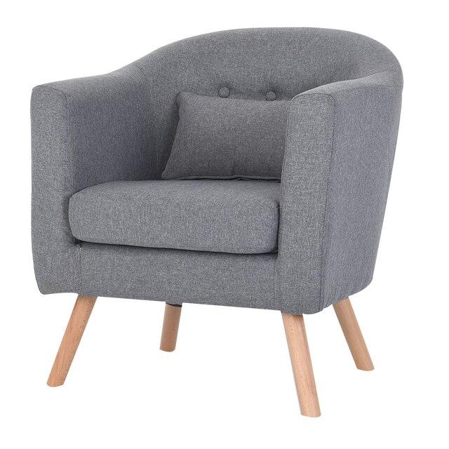 Armchair Linen Upholstery and Wooden Legs 5