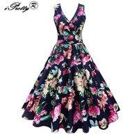 Women Autumn Vintage 1950s Rockabilly Dress Floral Print Sexy Cross Deep V Neck Sleeveless Elegant Tunic