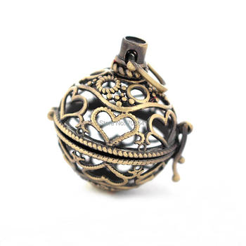 34x24mm Antique Bronze tone Round Chiming Ball Locket Cage Pendant Essential Oil Diffuser Hollow Filigree Heart Locket Findings