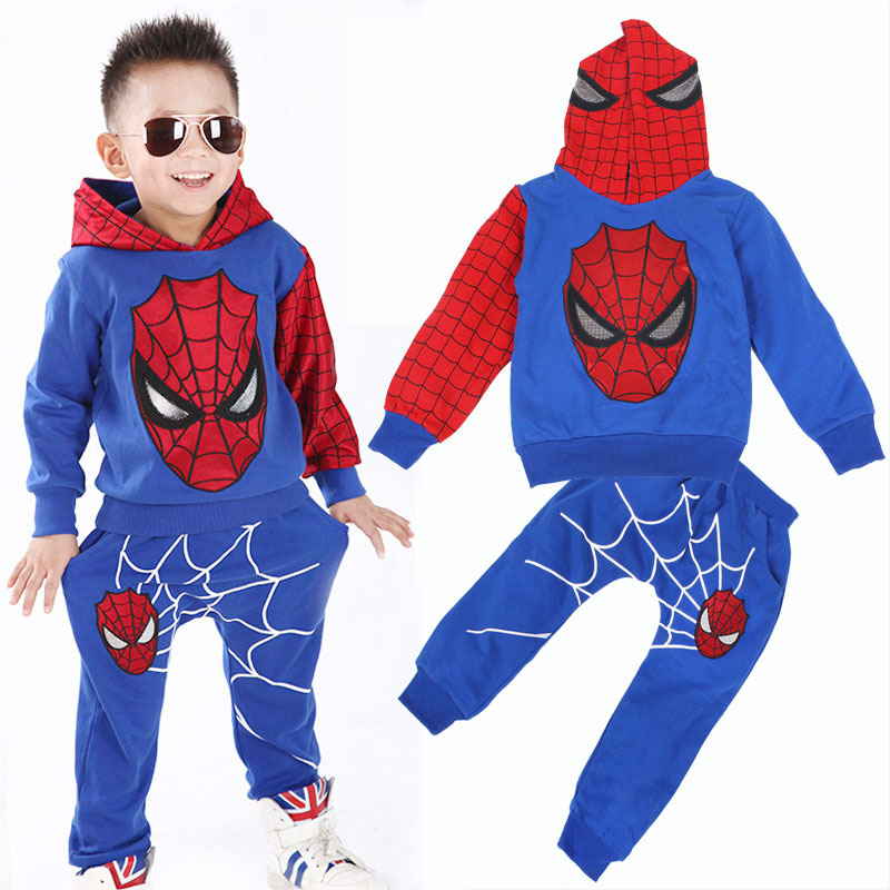 2016 new Baby Spring  autumn Spider-Man Sports suit 2 pieces set Kids Clothing sets 100-140cm Casual clothes Coat+Pant new 2014 spring autumn girls cartoon spider man suit boy long sleeve pants clothing set high quality baby kids casual clothing
