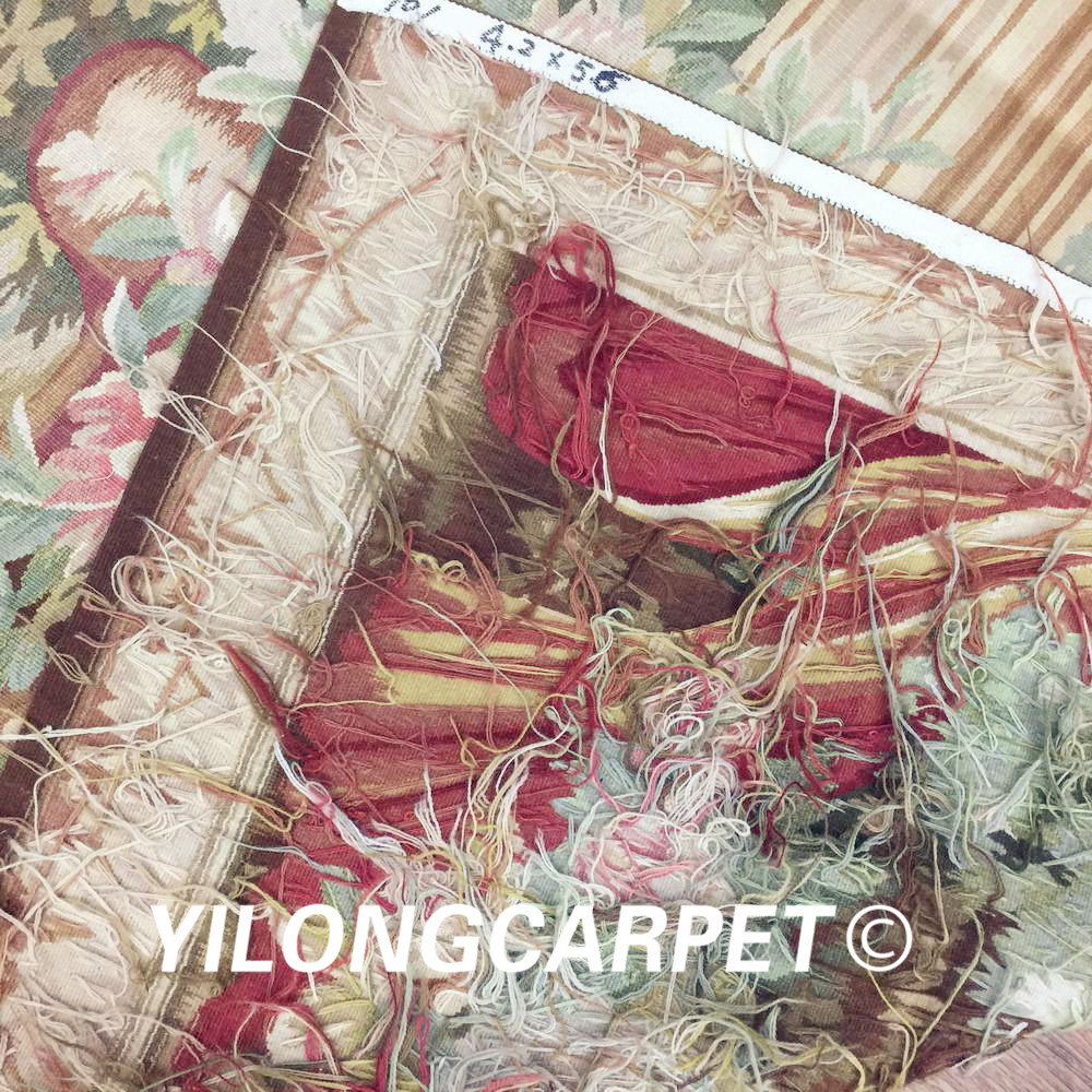 Yilong 4.2'x5.6' Wall hanging tapestry pure 100% wool french hand woven aubusson tapestry (Au32 4.2x5.6) - 6