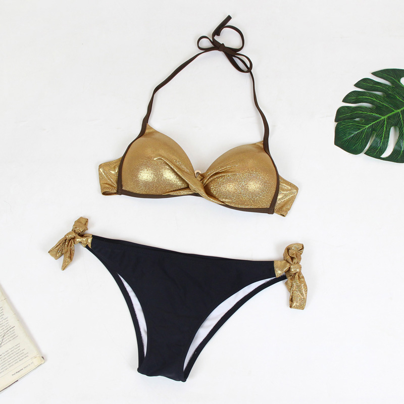 HTB1iioLN4TpK1RjSZR0q6zEwXXaO Bikinis 2019 Plus Size Swimwear Women Sexy Halter String Shiny Bordered Bathing Suit Push Up Swimsuit Lace Up Twist Bikini Set