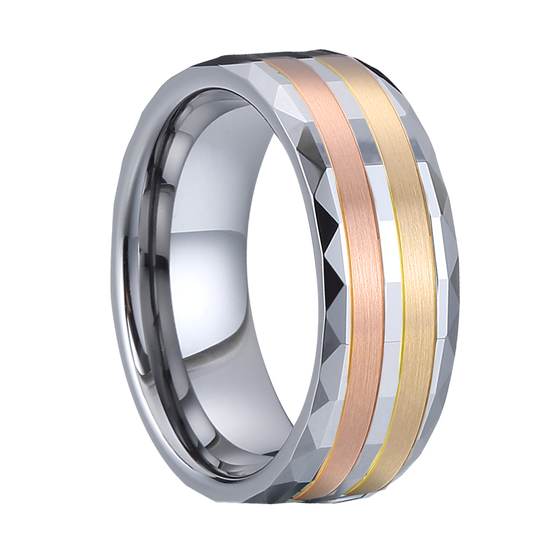 Luxury wedding band 14k rose gold ring for men tungsten rings anillo hombre anel masculino bague homme