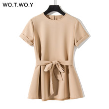 WOTWOY Plain Green Sashes T shirts Women 2019 Spring Summer Casual O-Neck Belt T-shirt Female Yellow Solid Woven Tops Harajuku(China)
