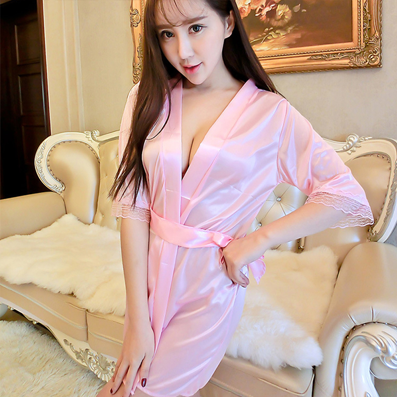 Mid-Sleeve Sexy Women Nightwear Robes Women's Short Kimono Style V-Neck Bathrobes Solid Lace Ice Silk Sashes Sleepwear