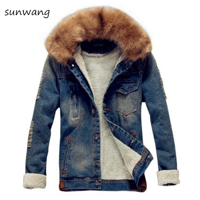679899a53e99 2018 Winter Ripped Denim Jacket Men Clothing Jean Coat Men Casual Jacket  Outwear With Fur Collar Wool Thick Clothes Plus Size