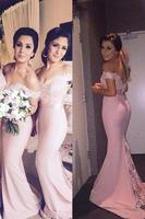 Floor Length Pink Mermaid Lace Bridesmaid Dresses Sleeves Off The Shoulder Cheap Beach Bridesmaids Dress Prom Party Gowns