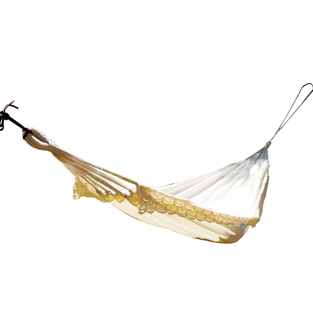Portable Indoor and Outdoor White Brand New Cotton Rope Hammock with Tassel Fringe Hammock Backyard Swing Bed Swing Chair