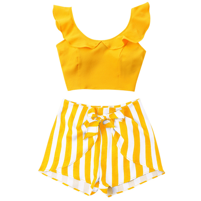 Kenancy Causal Summer Beach Female Sets XL Women Two Pieces Set Ruffled Cropped Tops Zipper High Waisted Striped Shorts Suits