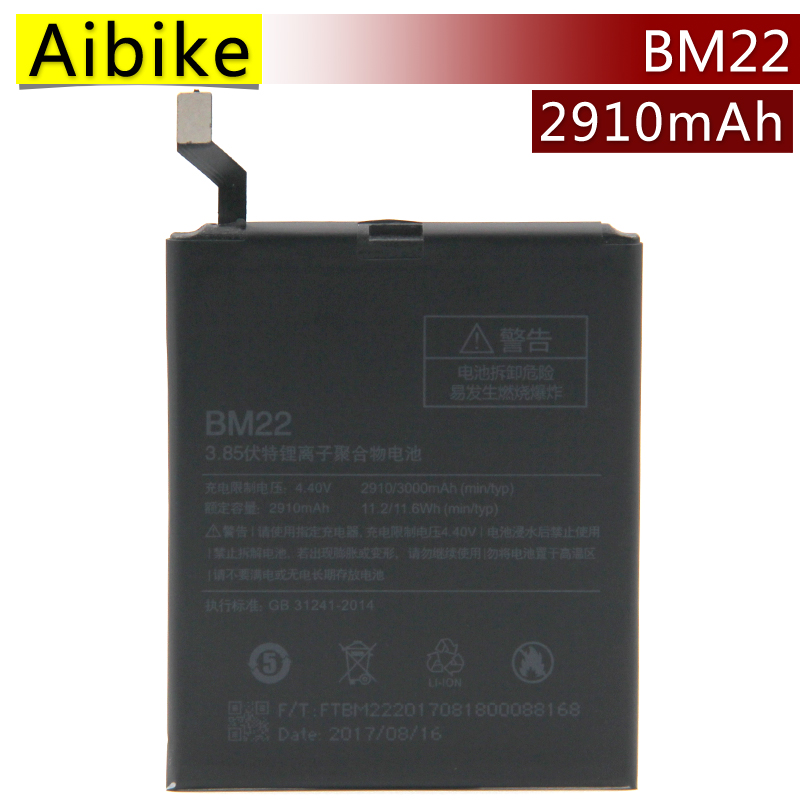 Aibike New original mobile phone battery BM22 For Xiaomi Mi5 Replacement Batteries 2910mAh rechargeable Battery