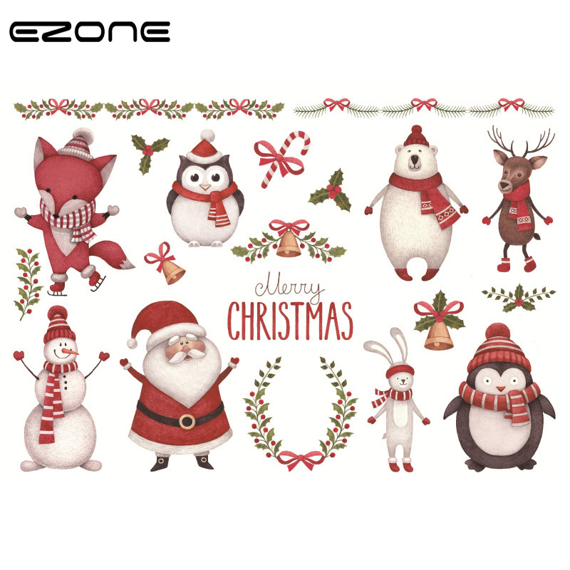 EZONE Christmas Sticker Design Of Kawaii Santa Claus/Elk/Snowman/Christmas Tree/Wreath For Childern Sketching Album Stationery