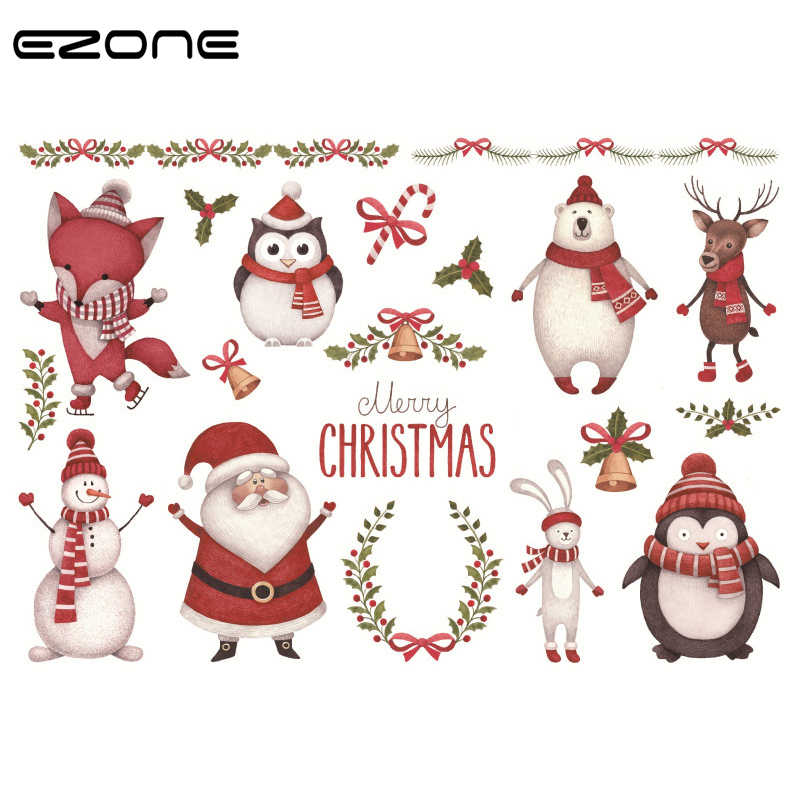Ezone Yilbasi Etiket Tasarim Kawaii Noel Baba Geyik Kardan Adam