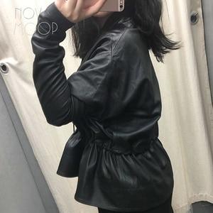 Image 3 - Women black genuine leather corrected grain lambskin leather coats jacket tie waist elasticized rib knit panel at sleeve  LT2477