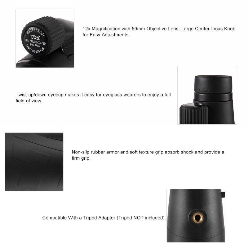 Eyeskey HD BAK4 Optics FMC 10x50/12x50/15x50 Zoom Portable Waterproof  Nitrogen Monocular Binocular Telescope for Hunting Outdoor