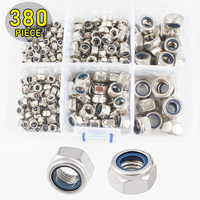 380pcs Stainless Steel Nylon Lock Nuts Assortment Kit M4 M5 M6 M8 M10 M12 Metric Threaded Self Locking Hex Insert Locknut