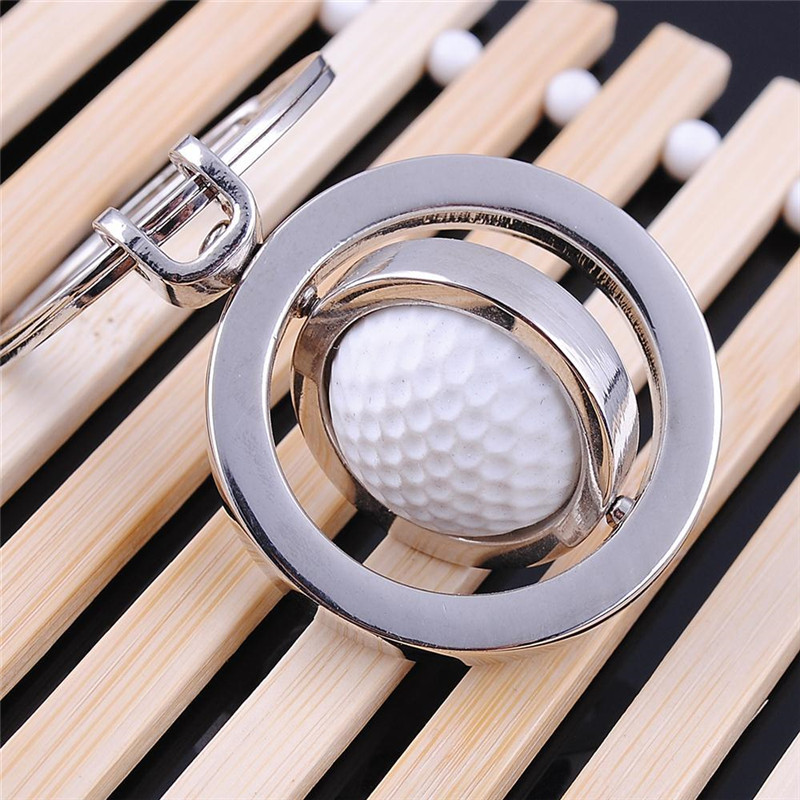Cute Rotary Rubber Golf Ball Alloy Metal Keychain Fashion Keyring Key Chain Creative Gift AM0688