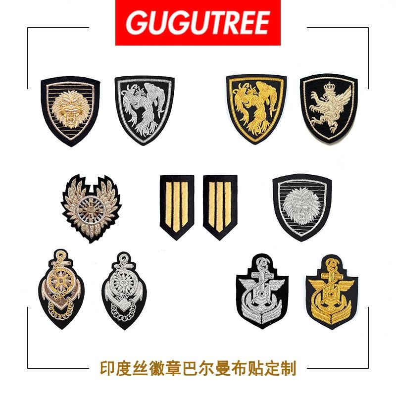 GUGUTREE inde soie broderie lion tigre phoenix ancre grade armée ailes patchs badges appliques patchs pour vêtements DZP-135