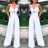 Women Fashion Strap Bodysuits Solid Color Casual Wide Leg Jumpsuit
