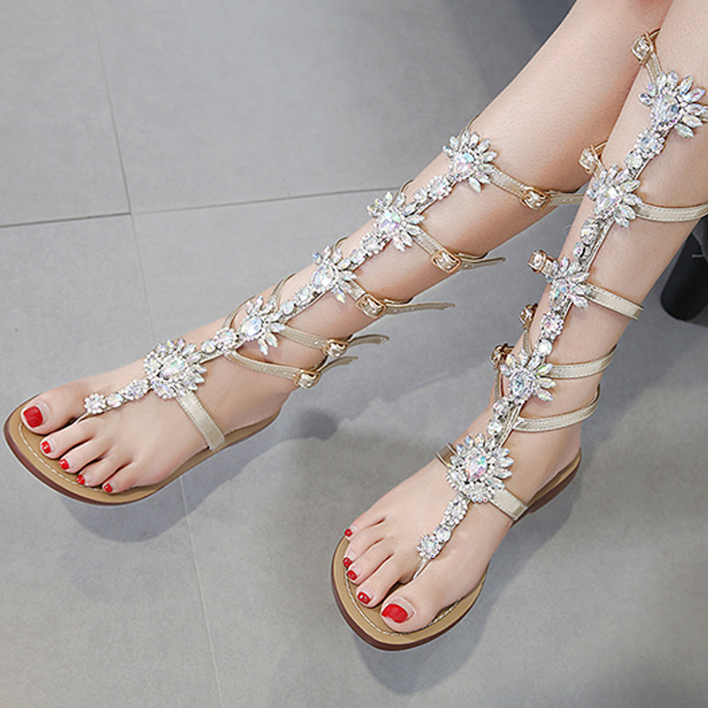 46619949af12 ... Large Shose Beach WEIQIAONA Sale heel Sandals Summer 2018 Hot Band  Party Casual Crystal Low Women