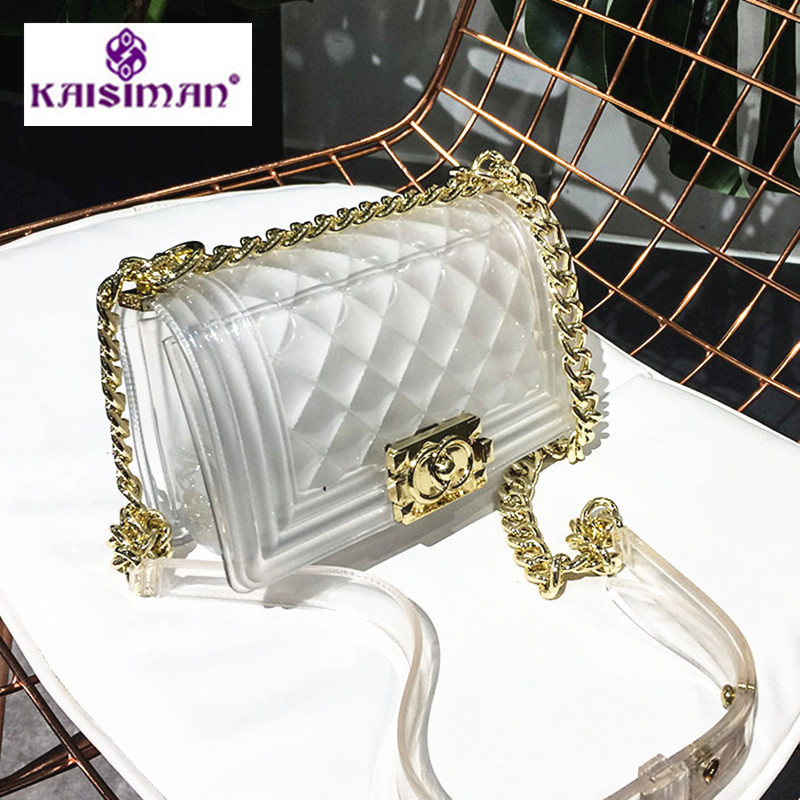 Luxury Brand Women Chain Bag New Famous Design Handbag Lock Transparent Jelly Bag Fashion White Tiote
