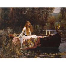 Красивые холсте леди шалотта известных картин Джон Уильям Уотерхаус женщина картина маслом ручной росписью Room Decor