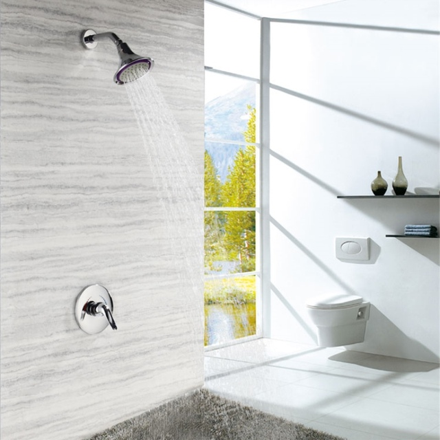Single Function Fixed Rain Shower Head Ceramic Wall Flush Mounted