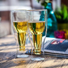1Pcs Creative Beer Mug Unique Design Whiskey Wine Cups Double Wall Glass Cup Glassware Bar