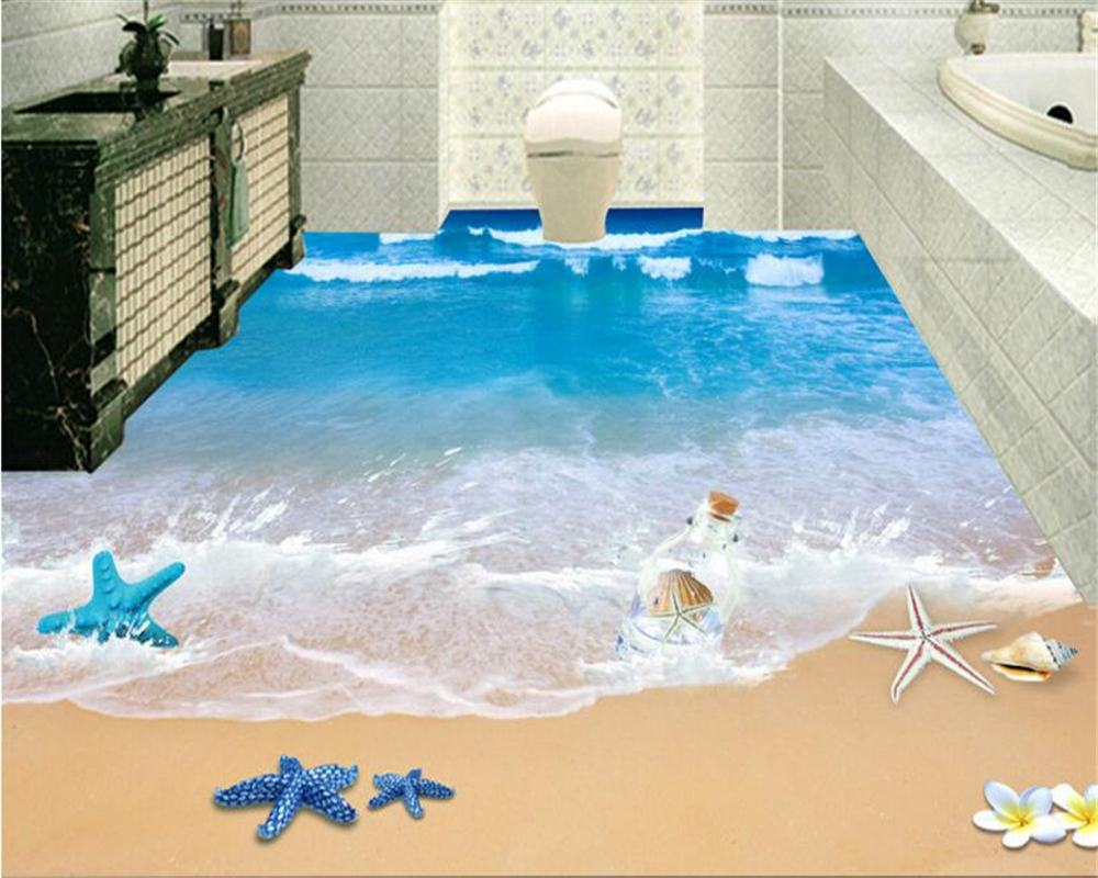 Beibehang Custom Fashion Personality Fantasy Wall Paper Vast Sea 3D Beach Bathroom 3d Flooring Papel De Parede 3d Wallpaper