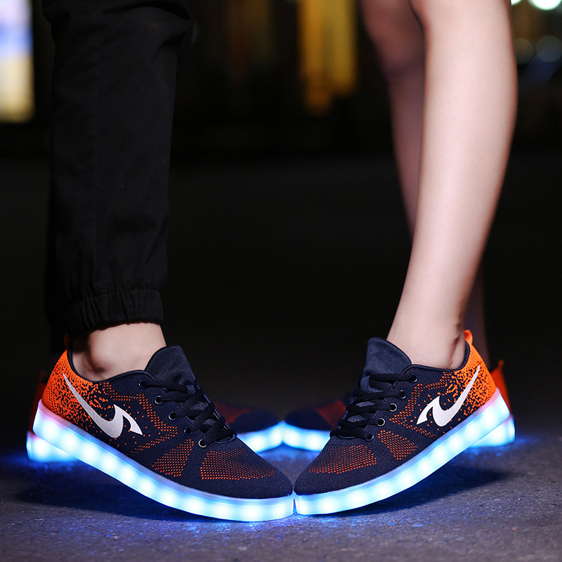Colorful Luminous Shoes Fluorescent  Couple Models LED Lights Shoes Men and Women Board Shoes USB Charging sneakers glowing sneakers usb charging shoes lights up colorful led kids luminous sneakers glowing sneakers black led shoes for boys