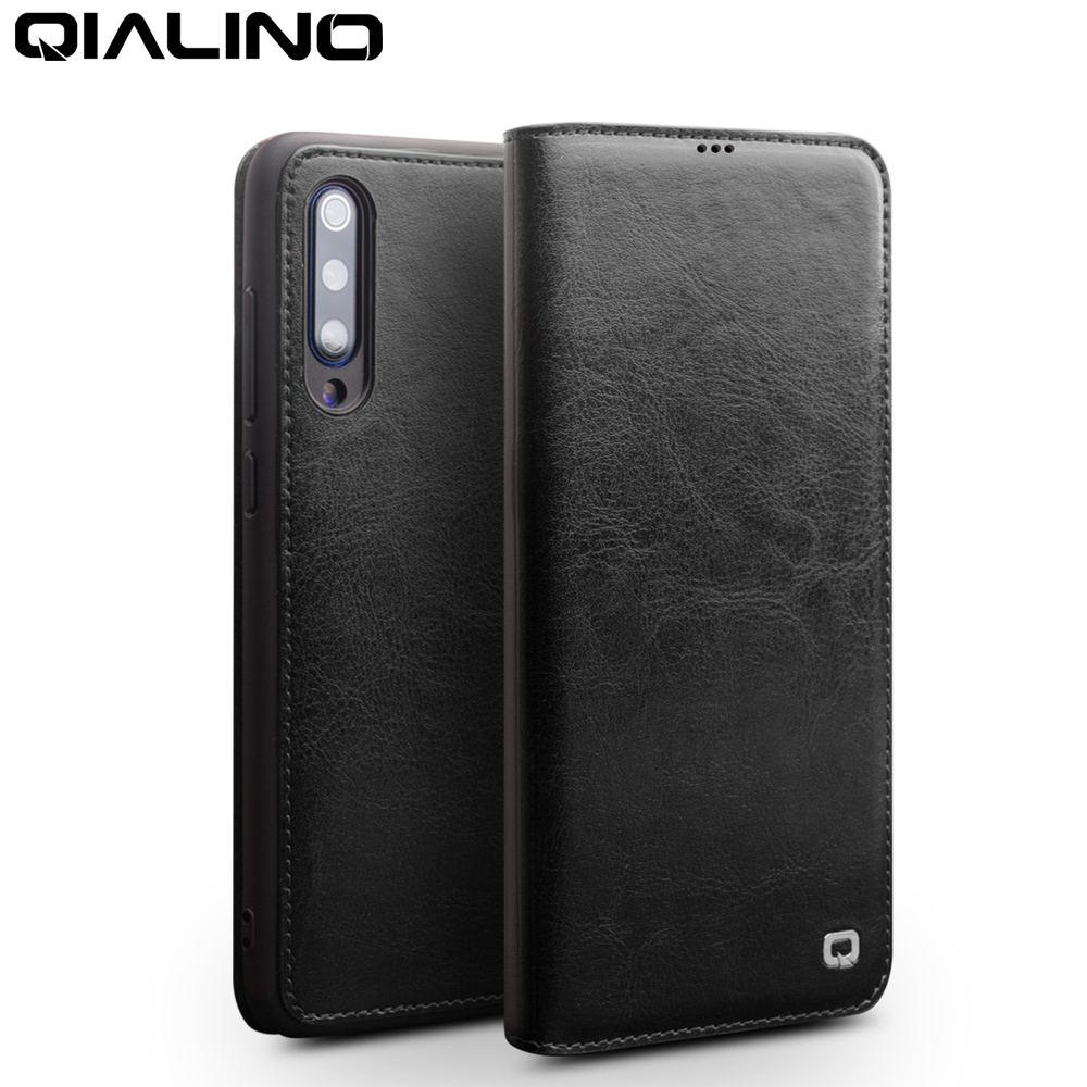 QIALINO Fashion Genuine Leather Phone Cover for Xiaomi Mi 9 6.39 inches Pure Handmade Flip Case with Card Slot for Xiaomi Mi 9